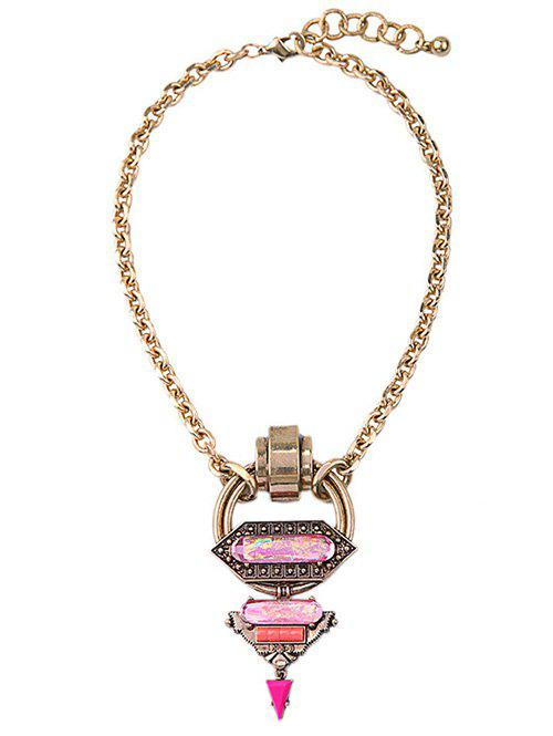 Chic Faux Gem Triangle Circle Necklace - GOLDEN