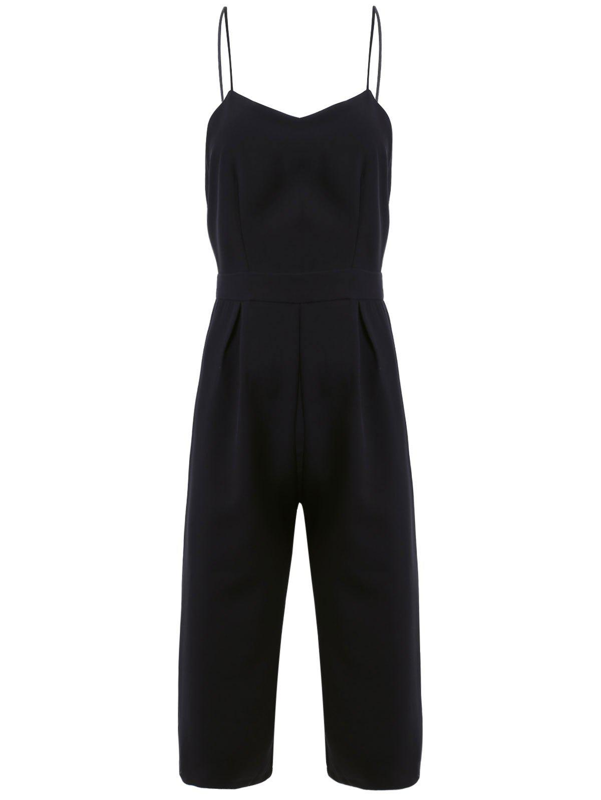 Simple Women's Spaghetti Strap Backless Jumpsuit - BLACK M