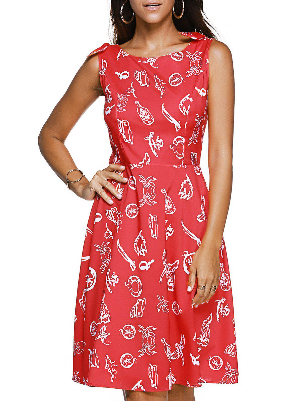 Sleeveless Bow Embellished Print Vintage Women's Dress - RED XL