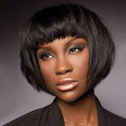 Women's Stylish Synthetic Full Bang Short Wig - BLACK