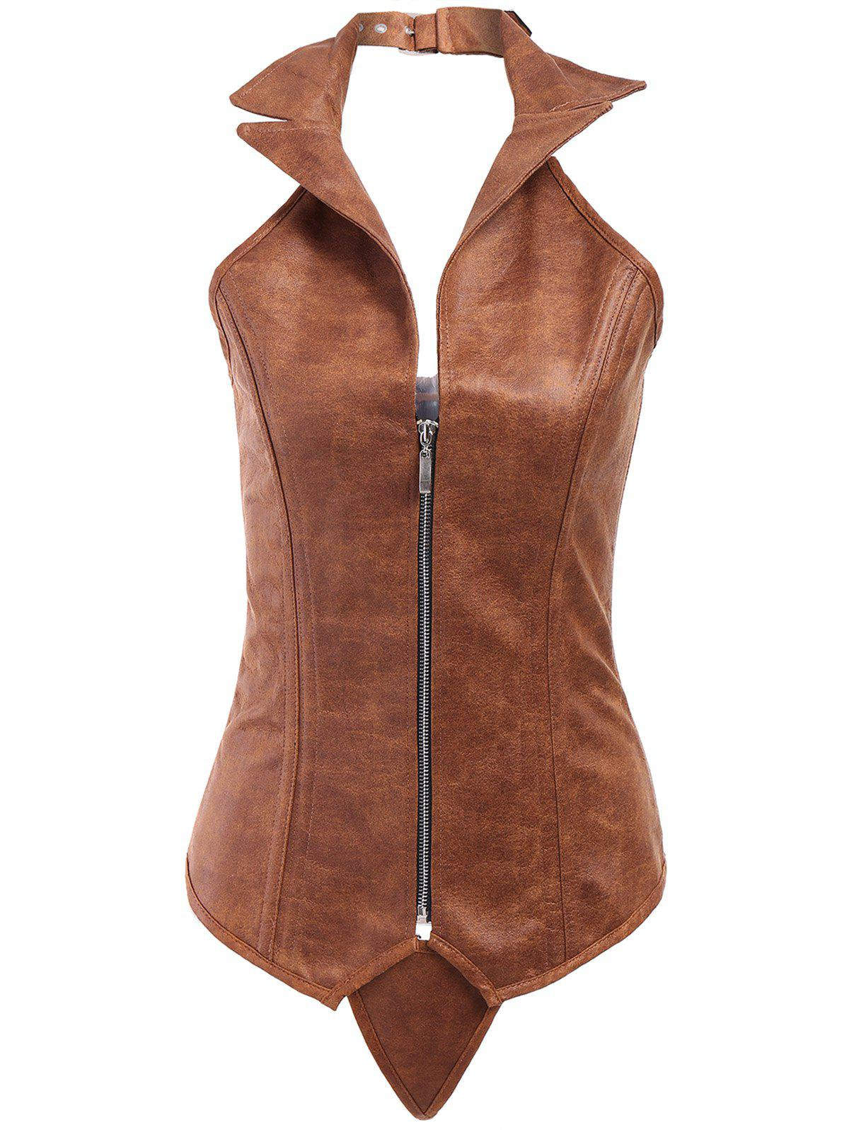 Sexy PU Leather Turn-Down Collar Corset For Women - KHAKI S
