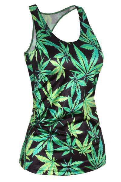 Stylish Scoop Neck Slimming Leaf Print Tank Top For Women - AS THE PICTURE ONE SIZE(FIT SIZE XS TO M)