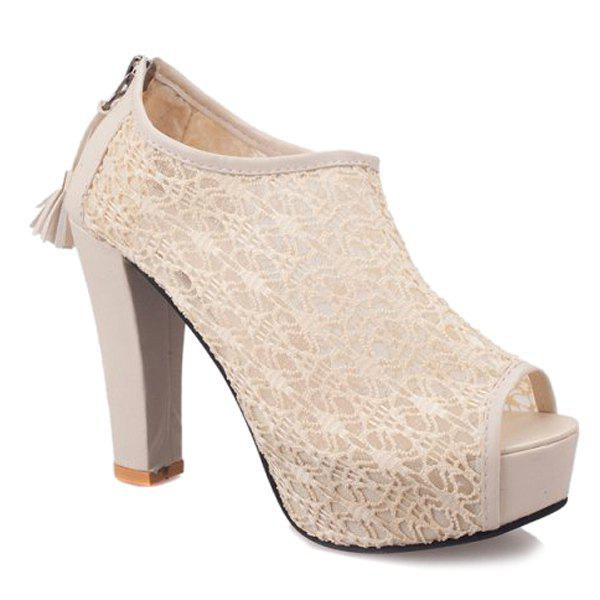Stylish Lace and Tassels Design Women's Peep Toe Shoes - OFF WHITE 37