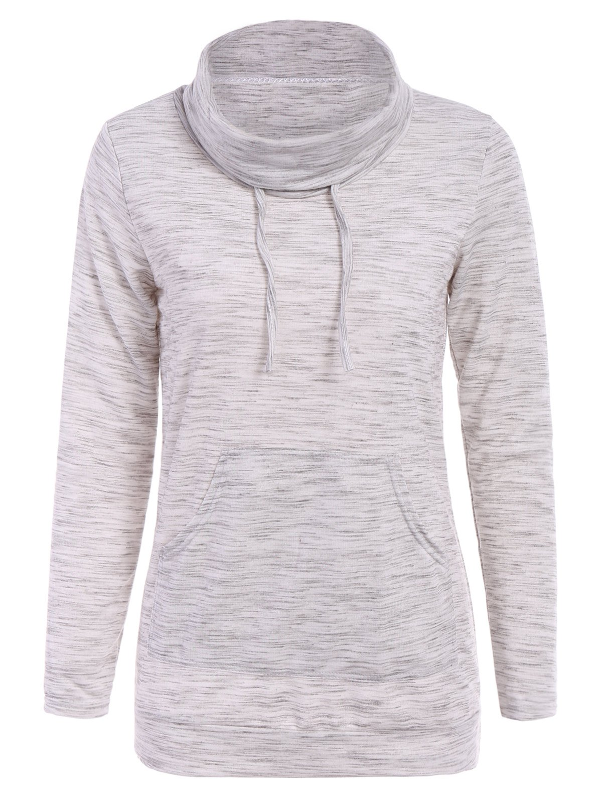 Stylish Cowl Neck Long Sleeve Drawstring Pocket Design Women's Hoodie - APRICOT S