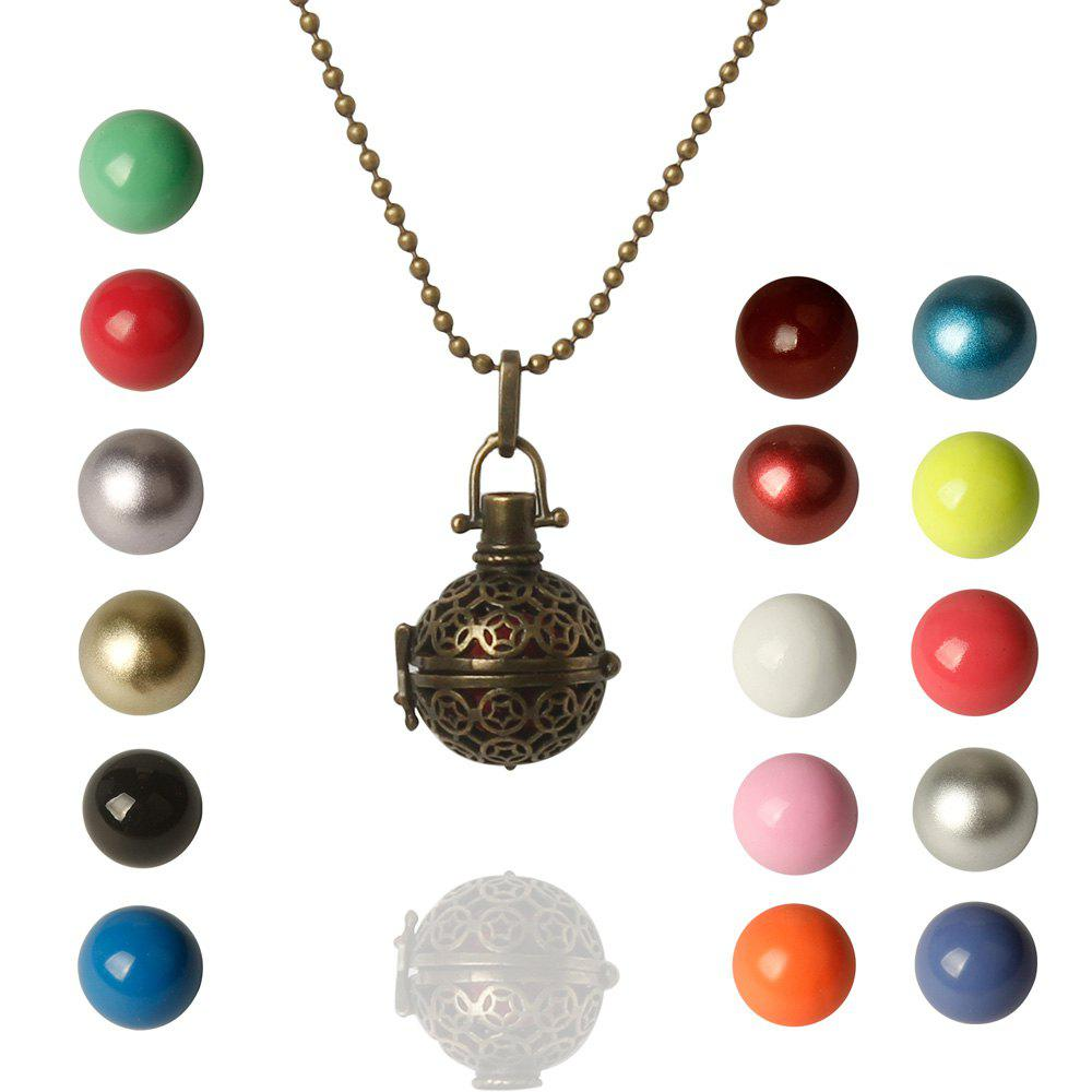 Alloy Filigree Pentagram Pendant Locket Necklace with Ball - COLORMIX
