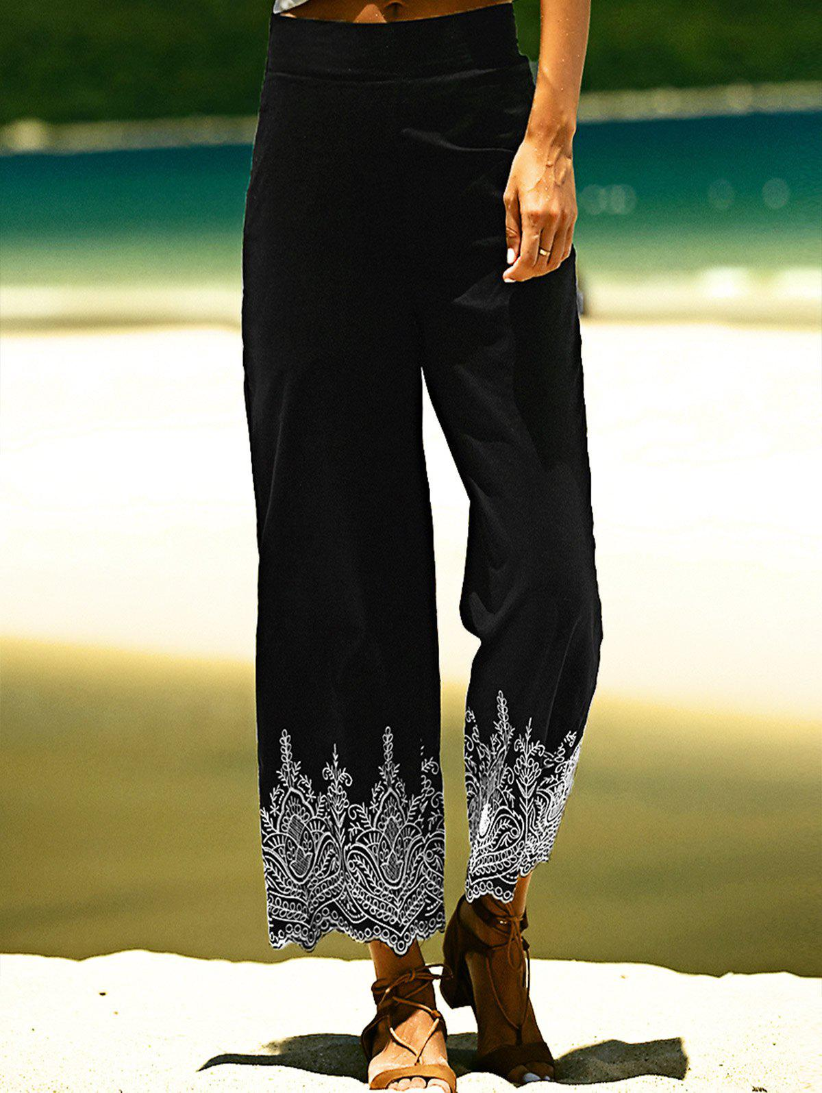 Zipper Fly Embroidery Design Wide Leg Ninth Length Pants - BLACK L