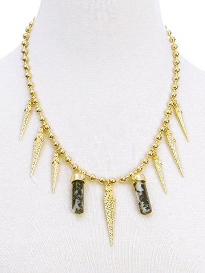Swords Stone Fringed Necklace - GOLDEN