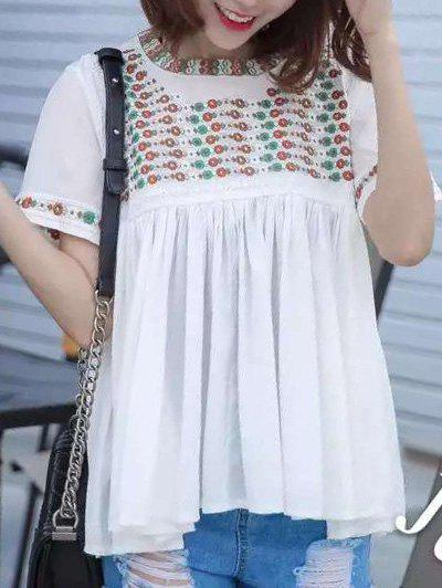 Ethnic Style Women's Round Neck Embroidery Top - WHITE ONE SIZE(FIT SIZE XS TO M)