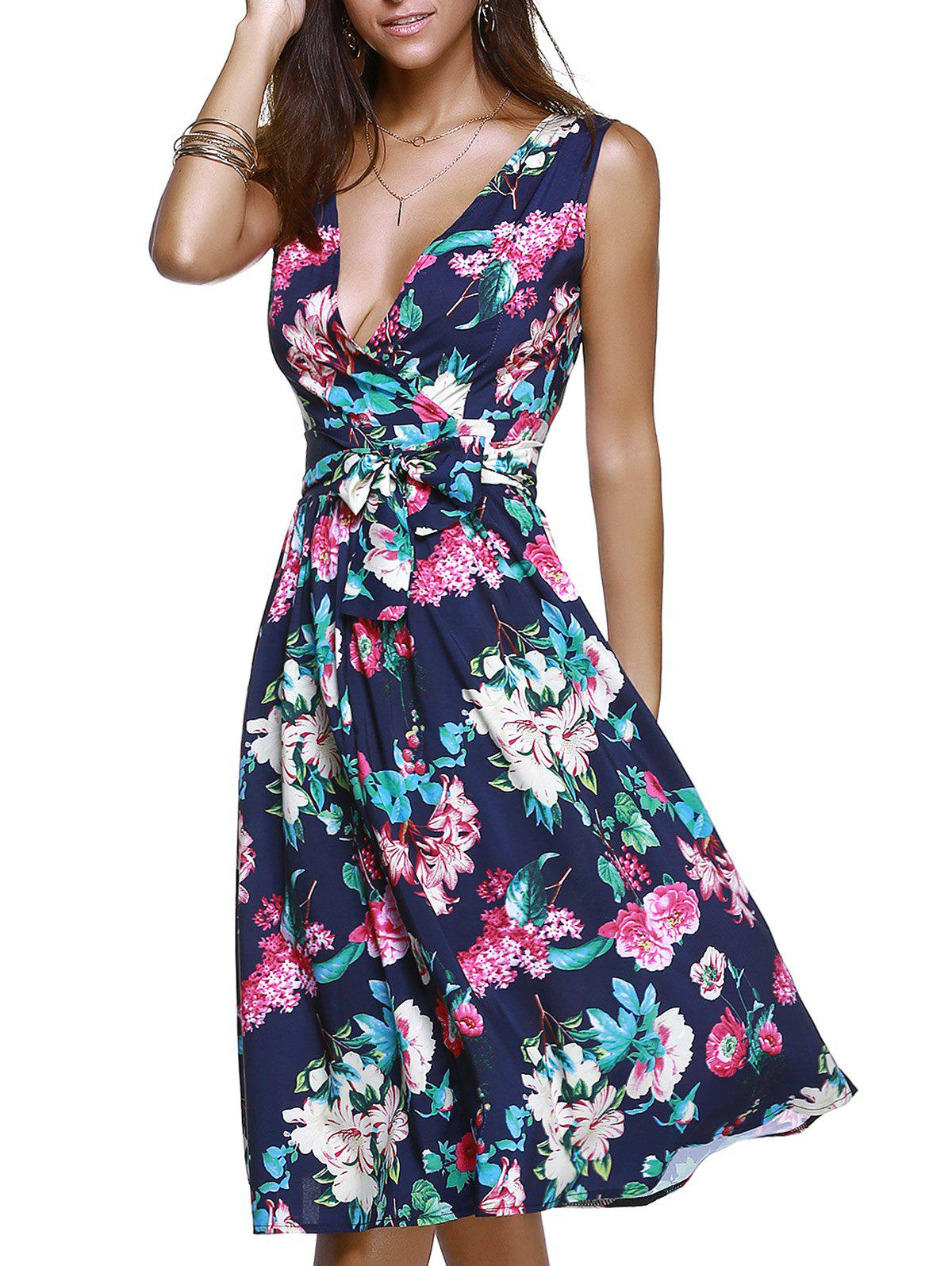 Surplice Bowknot Belted Floral Ladylike Women's Dress - CADETBLUE XL