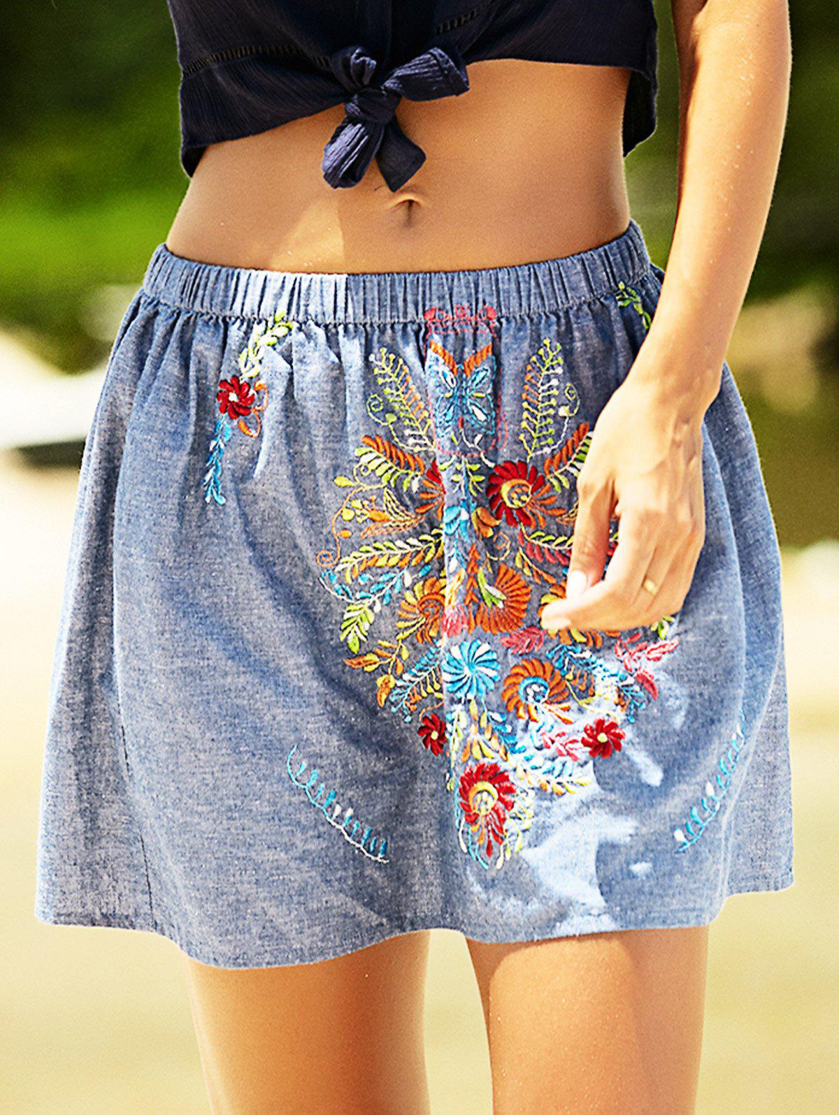 Embroidery Design Elastic Waist Denim Skirt - DENIM BLUE L