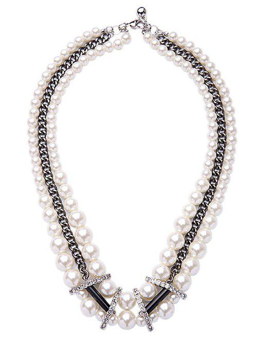 Faux Pearl Multilayer Necklace - WHITE