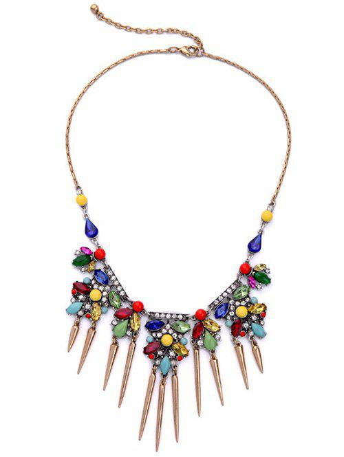 Rhinestone Faux Crystal Fringed Necklace - COLORMIX