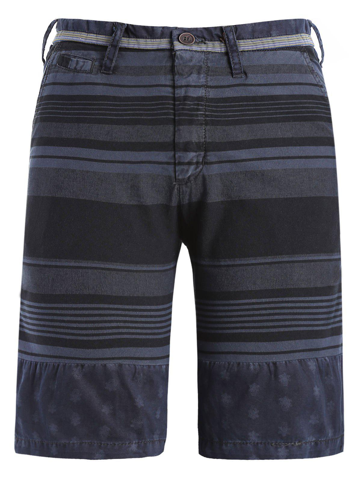 Stripe and Geometric Print Spliced Zipper Fly Straight Leg Men's Shorts