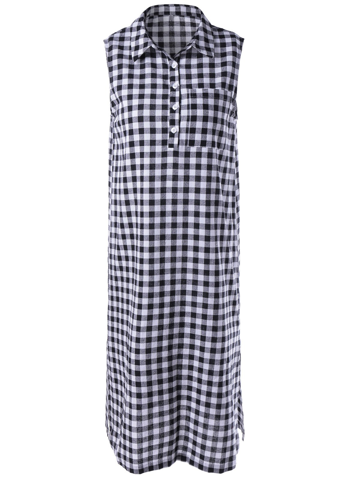 Fashionable Shirt Lattice Dress For WomanWomen<br><br><br>Size: S<br>Color: WHITE AND BLACK
