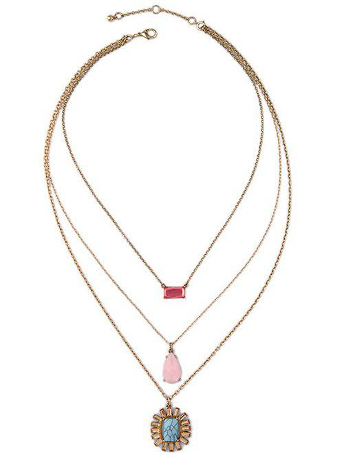 Faux Gem Geometric Multilayer Necklace - GOLDEN