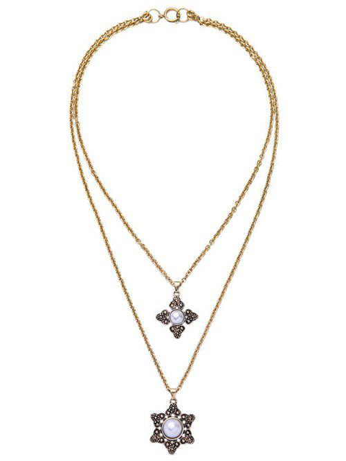 Faux Pearl Floral Multilayer Necklace - GOLDEN