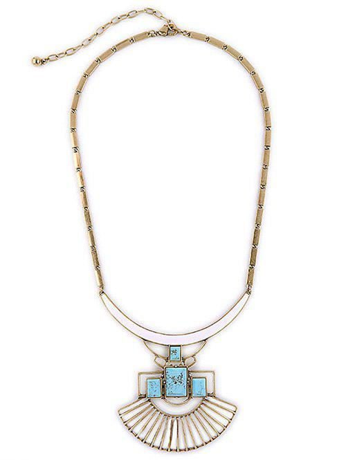 Statement Stone Geometric Pendant Necklace - GOLDEN
