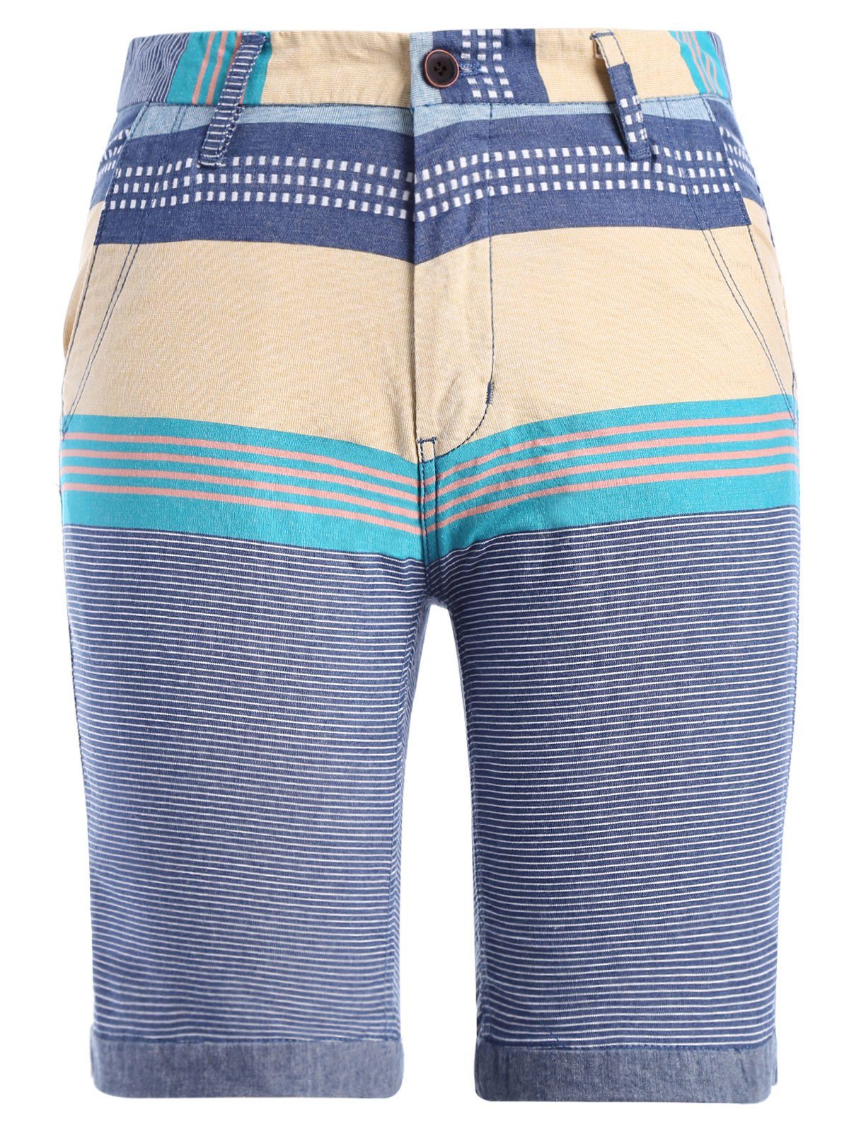 Color Block Stripe Print Spliced Zipper Fly Straight Leg Men's Shorts - DENIM BLUE 3XL