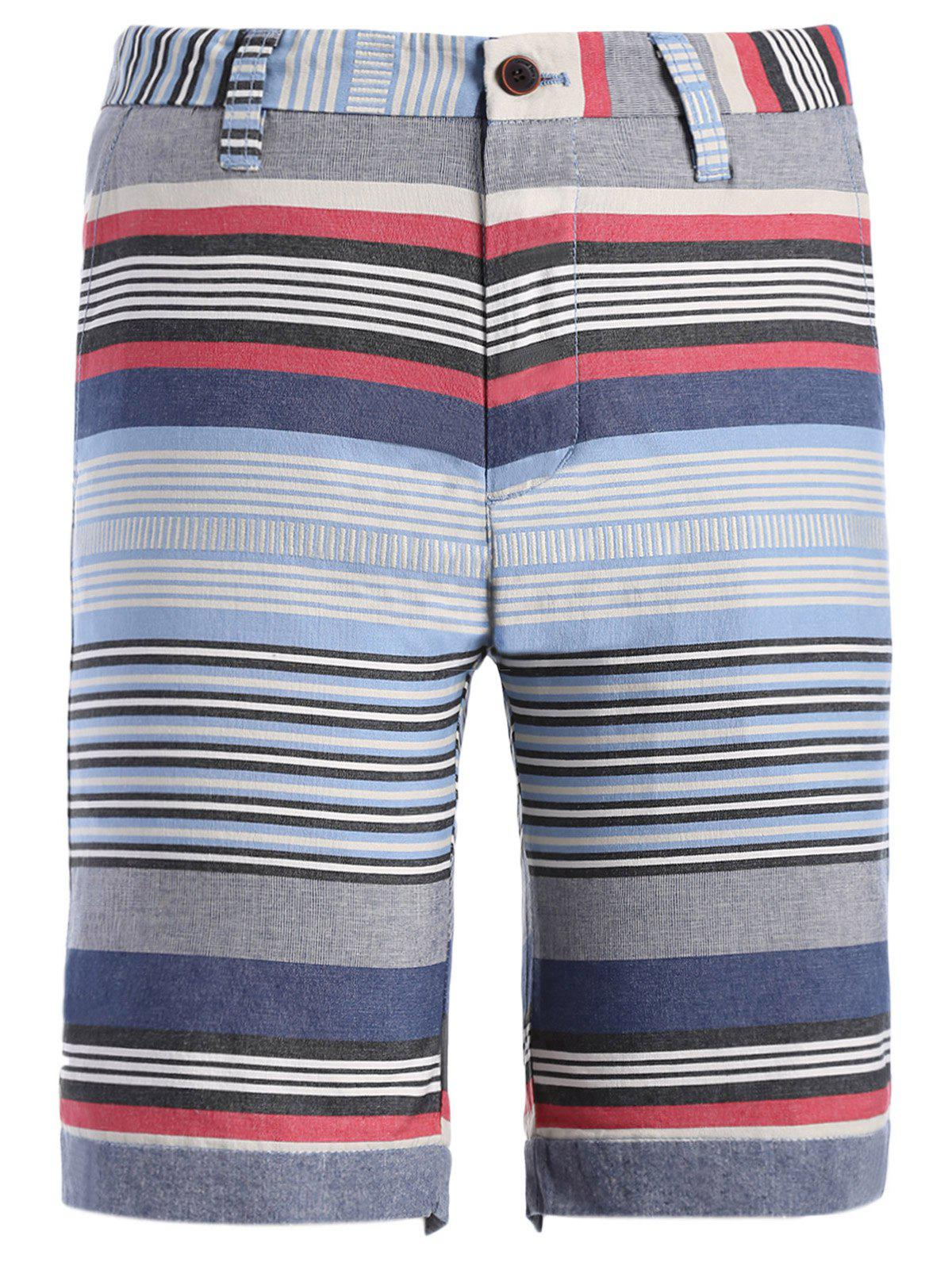 Color Block Striped Print Spliced Zipper Fly Straight Leg Men's Shorts - BLUE M