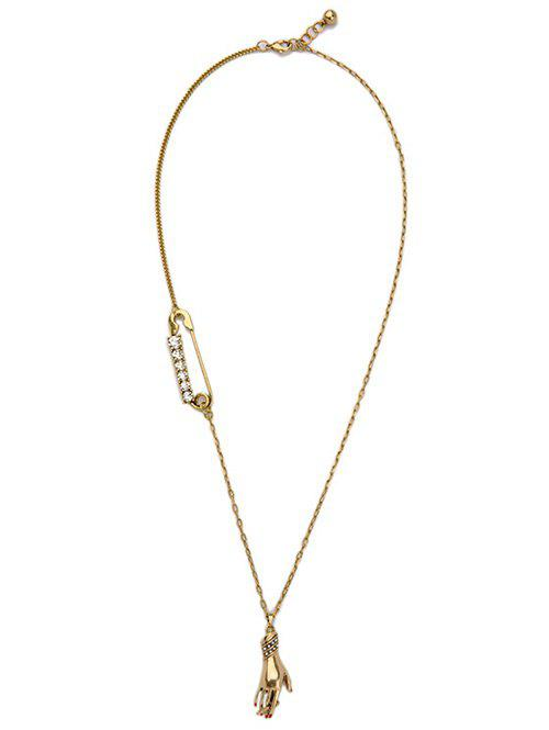 Smoking Hand Rhinestone Necklace - GOLDEN