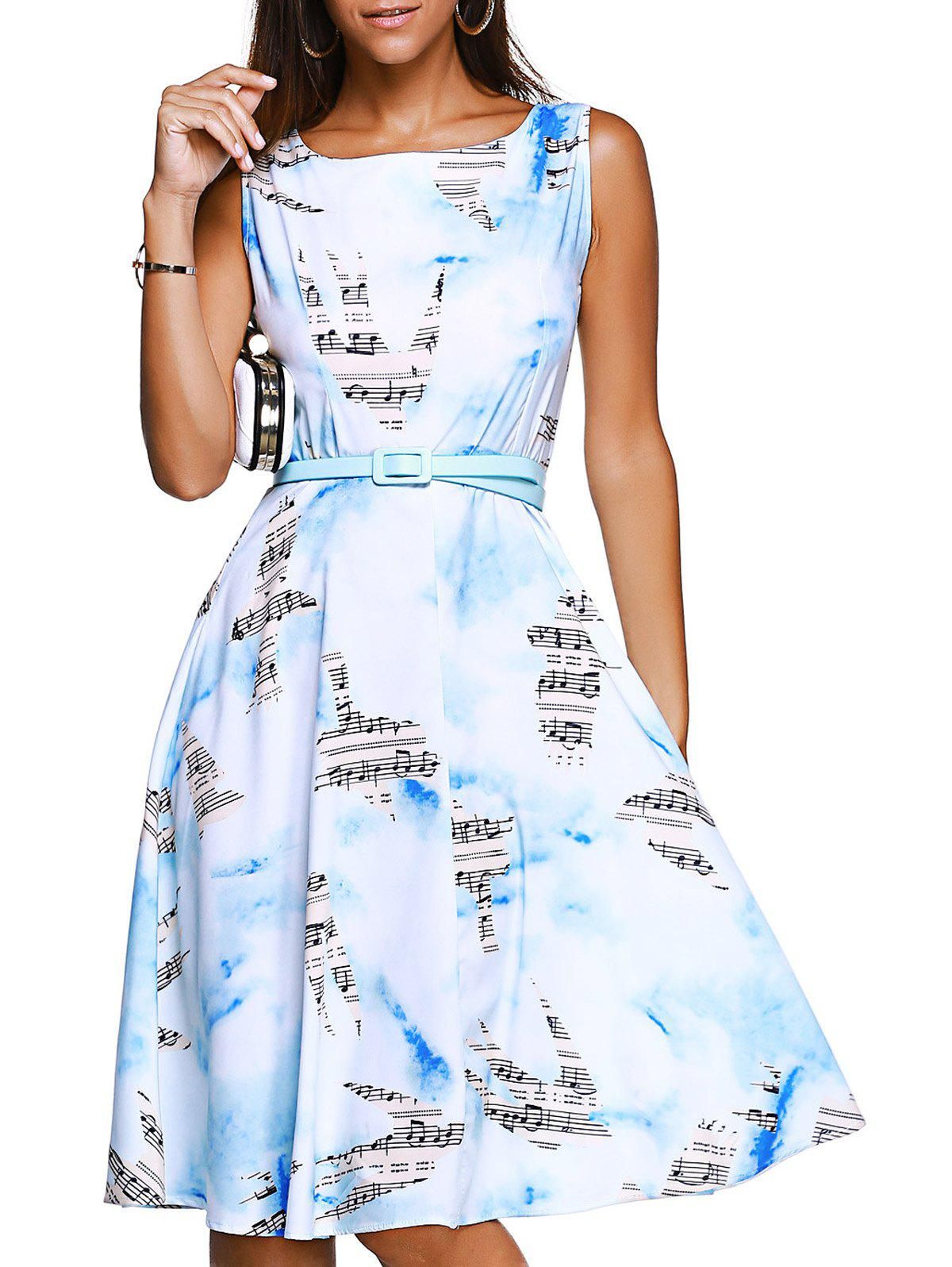 Sleeveless Note Bird Print Brief Belted Women's Dress - WHITE XL