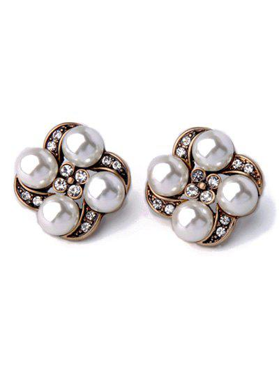 Chic Rhinestone Faux Pearl Floral Earrings