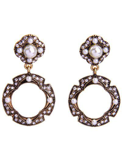 Chic Rhinestone Faux Pearl Circle Earrings