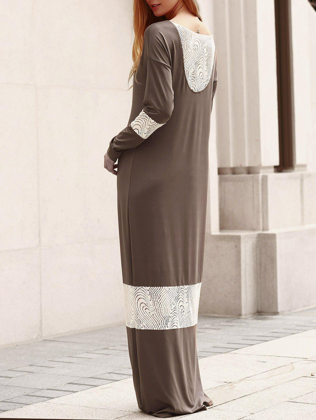 Stylish Scoop Collar Long Sleeve Lace Splicing Loose-Fitting Women's Dress - M GREY/WHITE