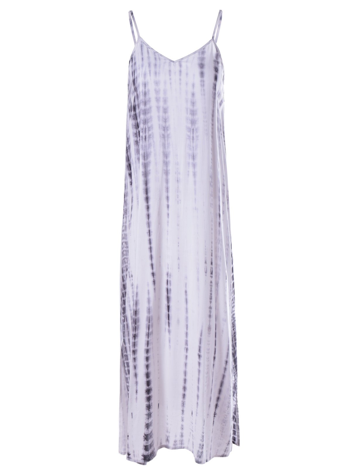 Fashionable Tie-Dye Low-Cut Spaghetti Strap Dress For Woman - WHITE/BLACK XL