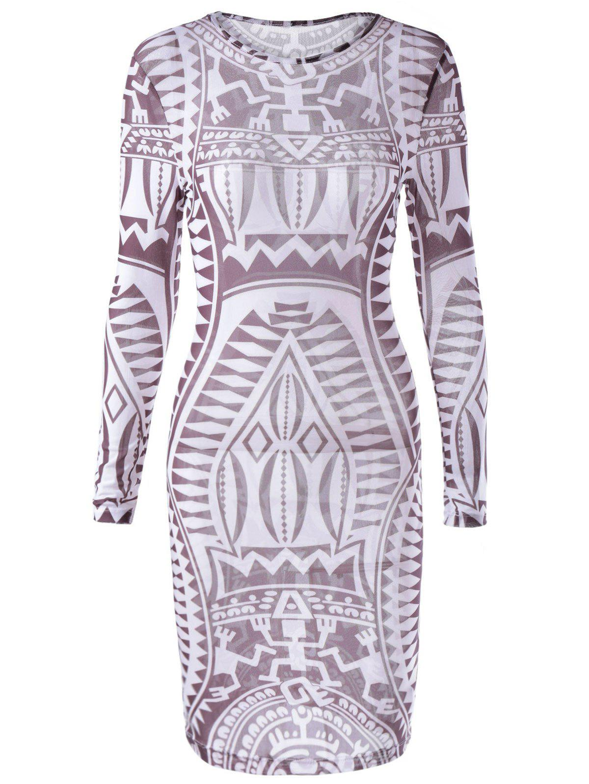 Fashionable Long Sleeves Printing Dress For Women - CHOCOLATE XL