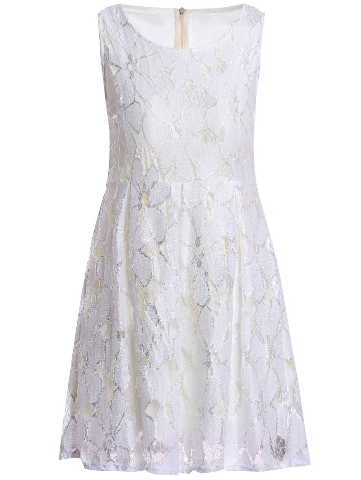 Sleeveless Ladylike Style Round Collar Jacquard Solid Color Lace Pleated Women's Dress - WHITE S