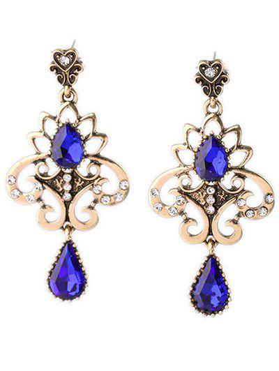 Chic Faux Crystal Heart Floral Earrings