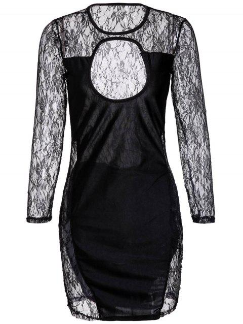 Scoop Collar Cut-Out Lace Long Sleeves Women's Bodycon Dress - BLACK L