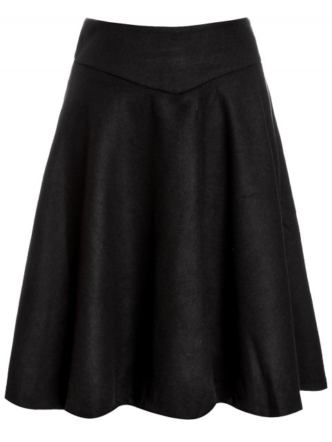 High Waist Woolen Midi Skirt - BLACK S