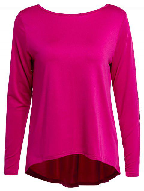 Graceful Jewel Neck Sequin Splicing Long Sleeve Blouse For Women - ROSE L