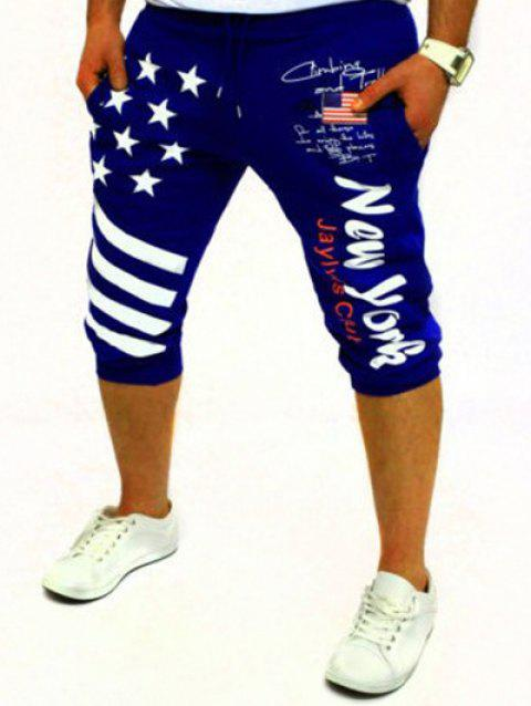 Casual Men's Lace Up Stars Printed Jogger Pants - BLUE M