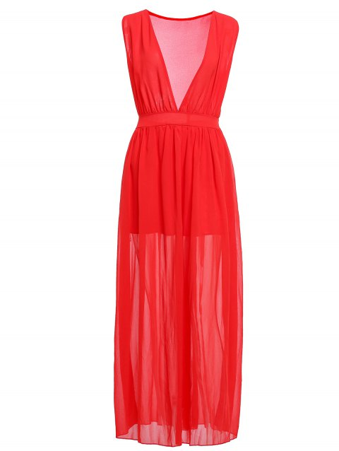 Fashionable Plunging Neck Ruffle Solid Color Sleeveless Maxi Dress For Women - RED M