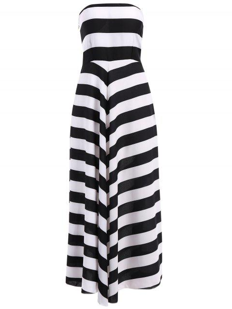 Trendy Nipped Waist Color Block Striped Strapless Maxi Dress