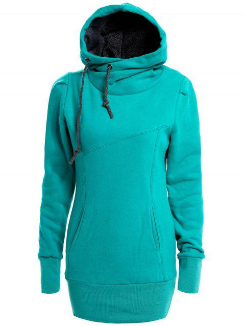 Women's Cotton Solid Color Draw String Pockets Beam Waist Korean Style Stylish Hoodie