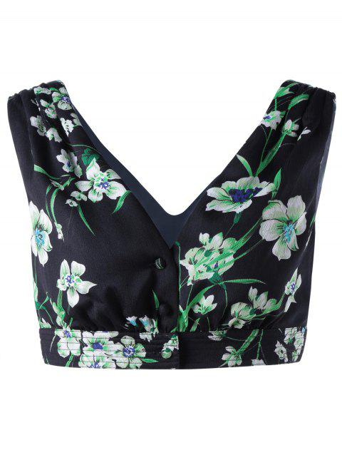 Trendy V Neck Printing Crop Top For Women - BLACK/GREEN M