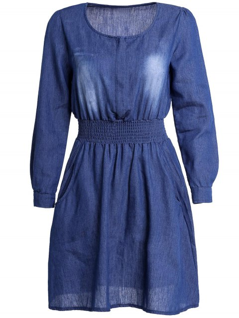 Stylish Solid Color Long Sleeve Scoop Neck Women's Denim Dress - BLUE M