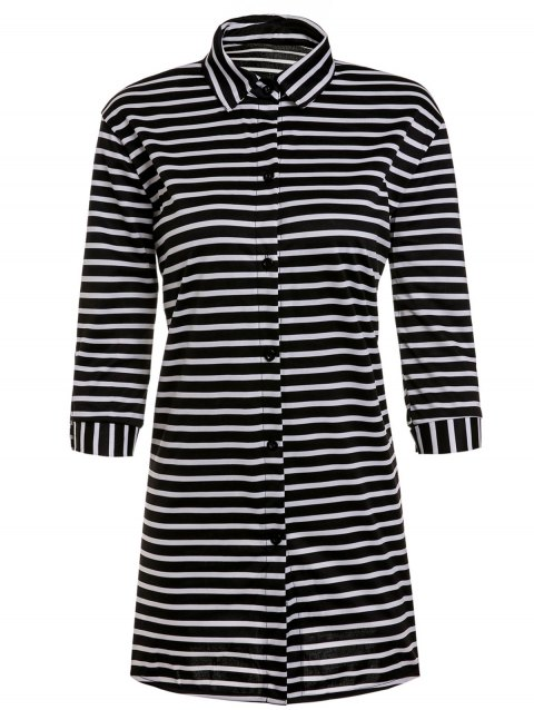 Robe Chemise Rayée à Manches 3/4 pour Femme - Rayure S