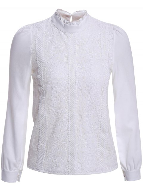 Elegant Stand Collar Long Sleeve Lace Splicing Blouse For Women - WHITE M