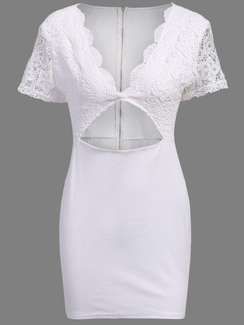 Graceful Low-Cut Short Sleeve Hollow Out Women's Bodycon Dress - WHITE XL