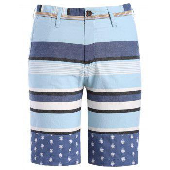 Classic Color Block Stripes Pattern Men's Straight Leg Zipper Fly Shorts