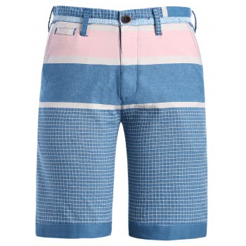 Fashion Men's Straight Leg Color Block Plaid Pattern Zipper Fly Shorts