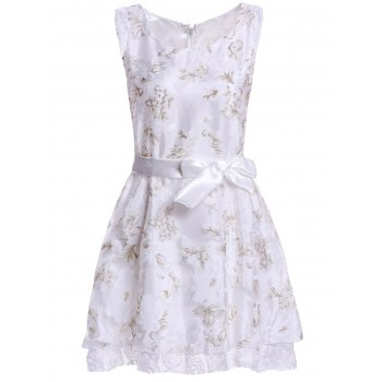Women's Graceful Floral Print Applique Sleeveless Dress