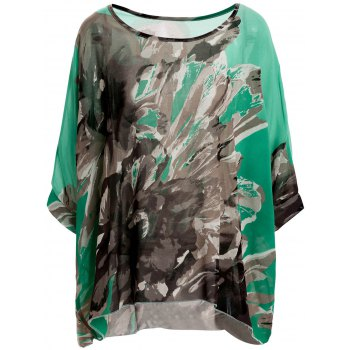 Stylish Scoop Neck Batwing Sleeve Loose-Fitting Floral Print Chiffon Blouse For Women