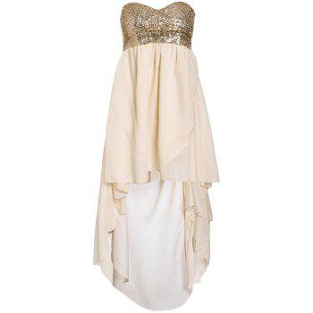 Glamour Strapless Swallowtailed Sequin Embellished Chiffon Women's Dress