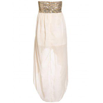 Glamour Strapless Swallowtailed Sequin Embellished Chiffon Women's Dress - ONE SIZE ONE SIZE
